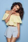 Fashion girl wearing pastel clothes Stock Photos