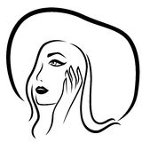 Fashion girl in the wide-brimmed hat. Vector outline Stock Illustration