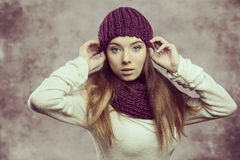 Fashion girl in winter season Stock Images