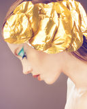 Fashion Girl With Golden Decoration On The Head, Blue Makeup Royalty Free Stock Photos
