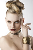 Fashion Girl With Leopard Makeup, She Looks Down Royalty Free Stock Photos