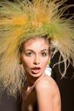 Fashion Girl With Original Hairstyle Stock Photos