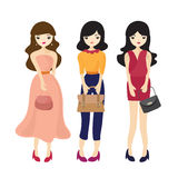 Fashion Girl And Woman Cartoon Stock Photography