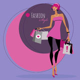 Fashion girl. Woman with shopping bags. Royalty Free Stock Photo