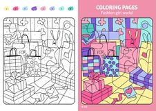 Fashion girl world coloring pages for kids, shopping bags. Coloring puzzle with numbers of color. Black and white draw with color example. Coloring book. Color vector illustration