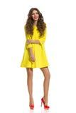 Fashion Girl In Yellow Mini Dress Stock Photography