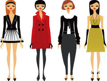 Fashion Girls. Four  fashionably dressed  trendy girls Royalty Free Stock Photo