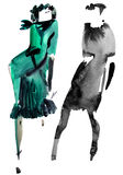 Fashion girls. Watercolor and ink painting Royalty Free Stock Image