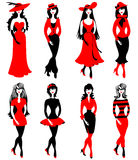 Fashion girls. Fashion models in black and red Royalty Free Stock Images