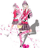 Fashion  girls. Illustration of a fashion girls silhouette on the watercolor background Royalty Free Stock Photos