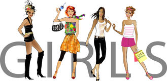 Fashion  girls. Vector    illustration of a fashion girls silhouette on the white background Stock Photography