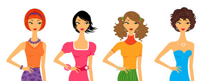 Fashion girls. Four beautiful trendy girls with different hair styles Royalty Free Stock Photography