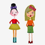 Fashion girls. Artistic work. Acrylic colours on paper Royalty Free Stock Photo