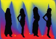 Fashion girls. On yellow-blue-red background royalty free illustration