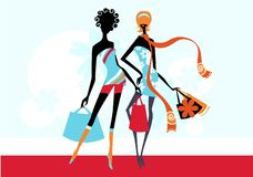 Fashion girls. Pretty illustration of  delicate fashion girls Stock Images