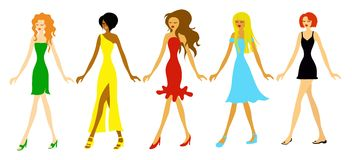 Fashion Girls. Five beautiful ladies in various dresses Stock Photo