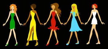 Fashion Girls. Five beautiful ladies in various dresses Stock Images