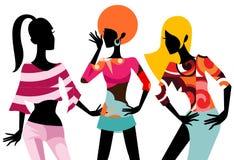 Fashion girls. Illustration of three pretty fashion girls royalty free illustration