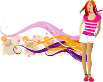 Fashion  girls. Art vector   illustration of a fashion girl silhouette on the creative background Royalty Free Stock Image