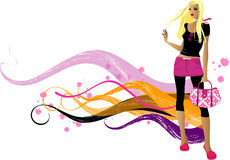 Fashion  girls. Art vector   illustration of a fashion girl silhouette on the creative background Stock Photography