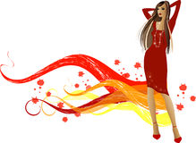 Fashion  girls. Art vector   illustration of a fashion girl silhouette on the creative background Stock Photo
