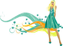 Fashion  girls. Art    illustration of a fashion girl silhouette on the creative background Stock Images