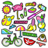 Fashion Girls Badges, Patches, Stickers - Bicycle Banana Flamingo Lipstick in Comic Style Royalty Free Stock Photography