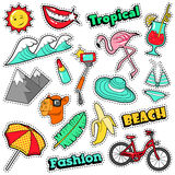 Fashion Girls Badges, Patches, Stickers - Bicycle Banana Flamingo Lipstick in Comic Style Royalty Free Stock Images