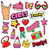 Fashion Girls Badges, Patches, Stickers - Cake, Hand, Heart, Crown and Lipstick in Pop Art Comic Style Stock Photography