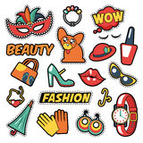 Fashion Girls Badges, Patches, Stickers - Comic Bubble, Dog, Lips and Clothes in Pop Art Comic Style Royalty Free Stock Image