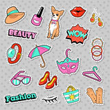 Fashion Girls Badges, Patches, Stickers with Comic Speech Bubble, Dog, Lips and Clothes Royalty Free Stock Photos