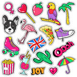 Fashion Girls Badges, Patches, Stickers - Flamingo Bird, Pizza Parrot and Heart in Comic Style Stock Photo