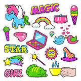 Fashion Girls Badges, Patches, Stickers - Rainbow Royalty Free Stock Photo