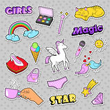Fashion Girls Badges, Patches, Stickers - Rainbow, Cat, Hand and Birds in Pop Art Comic Style Royalty Free Stock Photo