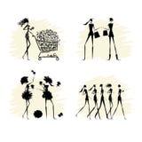 Fashion girls black silhouettes collection Stock Photos