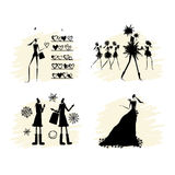 Fashion girls black silhouettes collection Stock Image