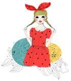 A fashion girls with a bow. A fashion girls ,cartoon art vector illustration
