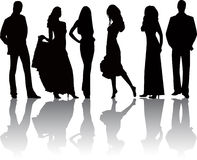 Fashion girls and boys-vector Royalty Free Stock Photos