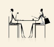 Fashion girls in cafe, illustration Royalty Free Stock Photography