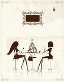 Fashion girls in cafe, illustration Stock Photography