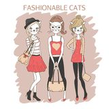 Fashion girls cats Royalty Free Stock Images