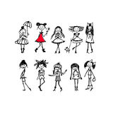 Fashion girls collection, sketch for your design Stock Photography