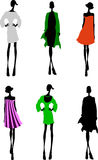 Fashion Girls Designer Silhouette Sketch. Vector illustration Royalty Free Stock Photo