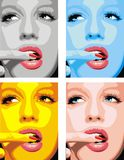 Fashion girls face  in different colors. As nice woman background Stock Photography