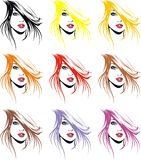 Fashion girls face and hair in different colors. Girls face and hair in different colors as fashion background Royalty Free Stock Photography