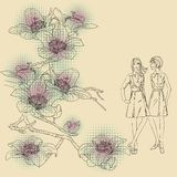 Fashion girls  on a floral background Stock Photo