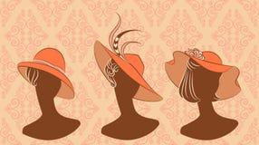 fashion girls in hat. Stock Photos