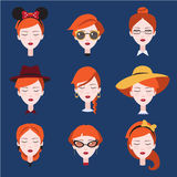 Fashion Girls in Head Accessories Set Royalty Free Stock Image