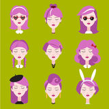 Fashion Girls in Head Accessories Set Royalty Free Stock Photos