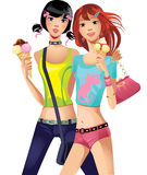 Fashion girls with ice cream Royalty Free Stock Photo